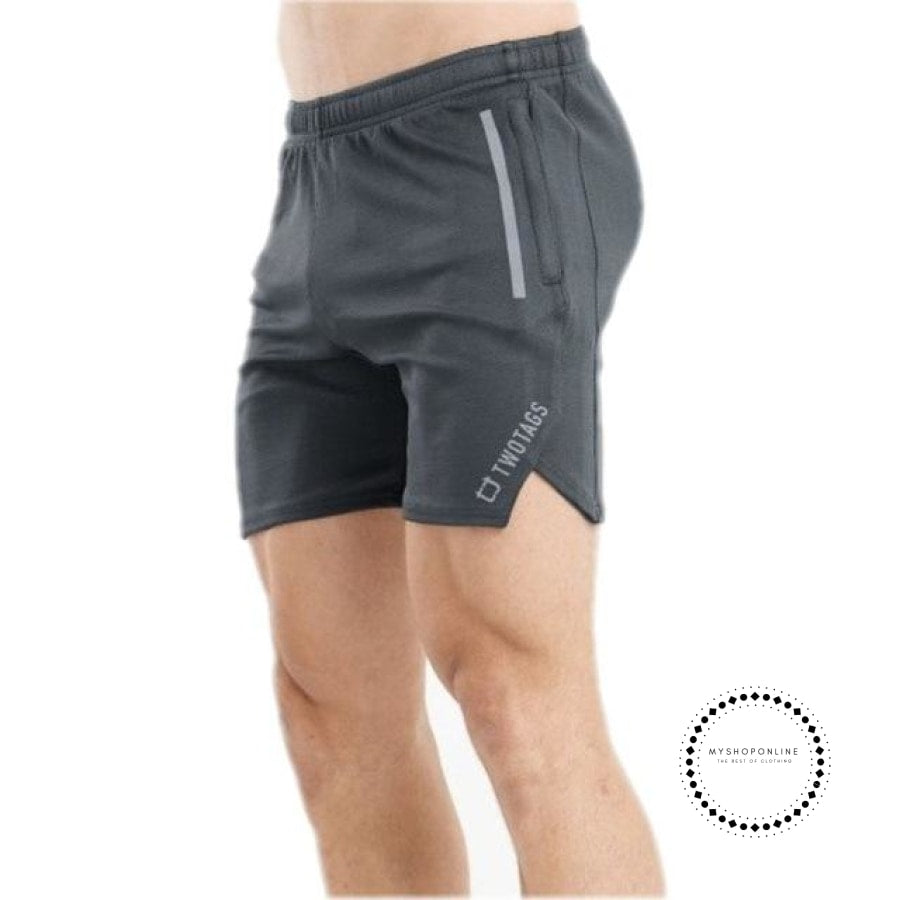 Quick Dry Shorts Mens Sexy Middle Waist Tight Summer Beach Casual Breathable Elastic Male Dark Grey