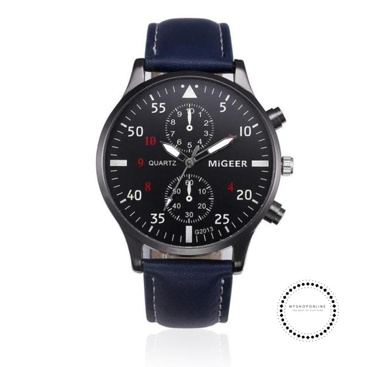 Retro Design Leather Band Watches Men Blue Accesorios