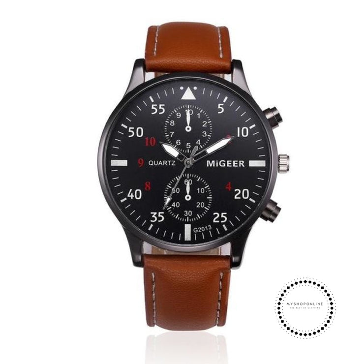 Retro Design Leather Band Watches Men Brown Accesorios