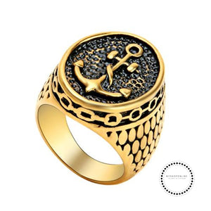Ring Men Vintage Punk Titanium 8 / Gold Accesorios