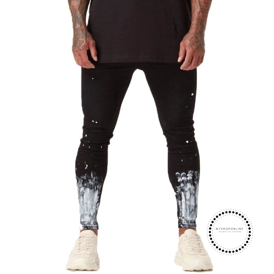 Ripped Jeans For Men Skinny Slim Fit Ankle Tight Light Weight Super Stretch Cotton Spandex Big Size