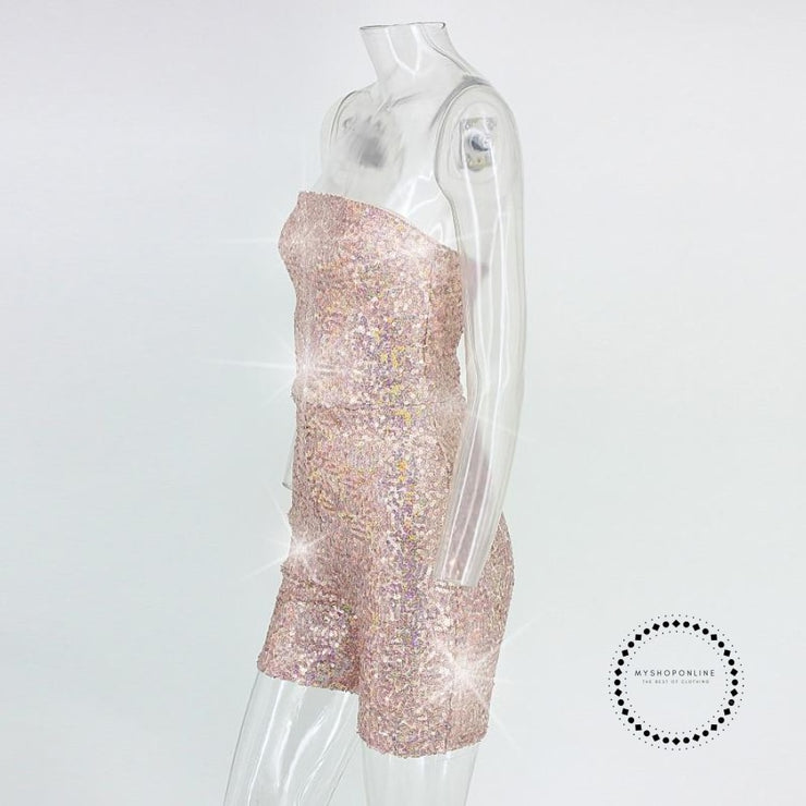 Sequin Romper Strapless Kylie Jenners 21St Birthday Party Sexy Jumpsuit Clubwear Outfits For Women