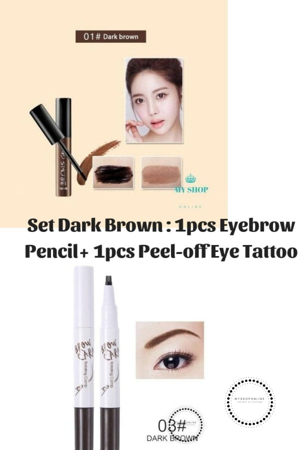 Set 2 Pcs Beauty Peel-Off Eye Brow Tattoo + Eyebrow Pencil Dark Brown Cosmetic