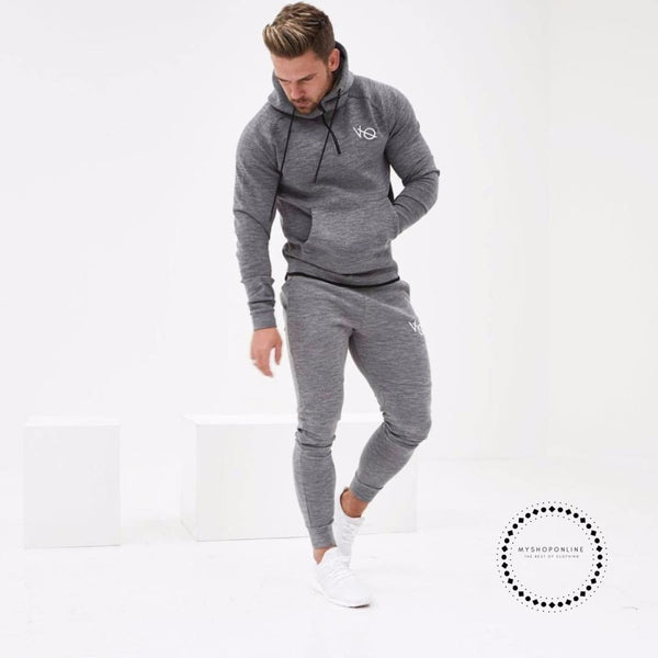 Set Mens Fashion Sportswear Tracksuits Sets Bodybuilding Hoodies+Pants Casual Outwear Suits Gray / M