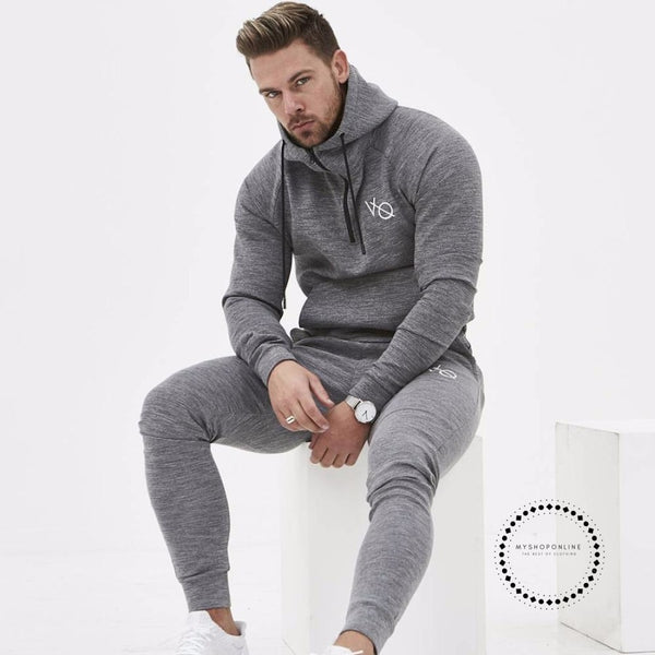 Set Mens Fashion Sportswear Tracksuits Sets Bodybuilding Hoodies+Pants Casual Outwear Suits