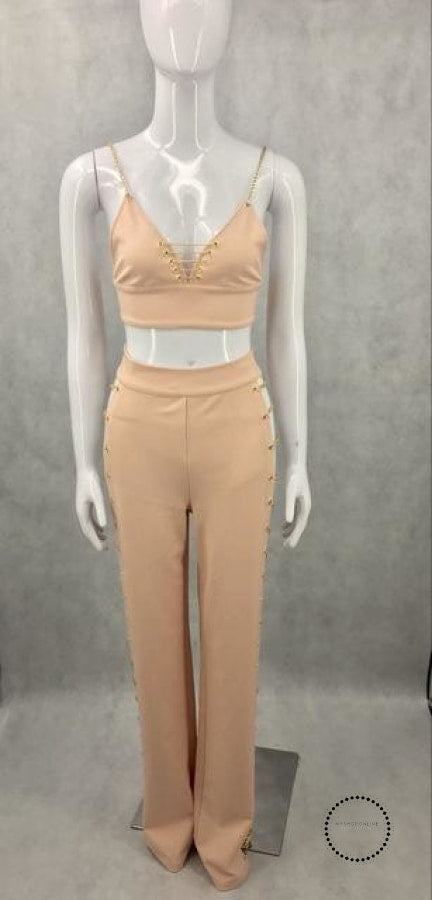 Sexy 2 Pieces Jumpsuits Beige / Xs Accesorios