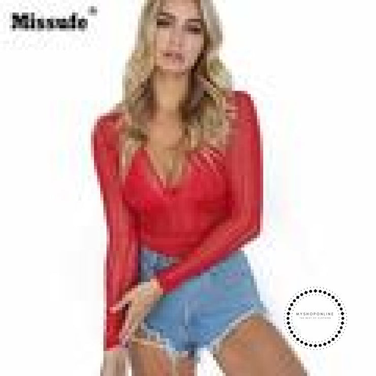 Sexy Lace Bodysuit Women Deep V Neck Long Sleeve Accesorios