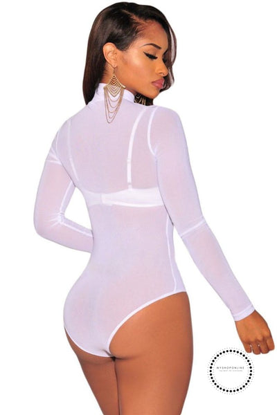 Sexy Long Sleeve Sheer Mesh Bodysuit Transparent Stretch Playsuit Leotard Women Club Wear Accesorios