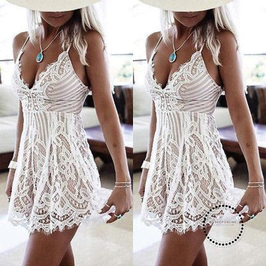 Sexy Women Spaghetti Strap Dresses Summer Sleeveless Lace Casual Evening Party Mini Dress Clothing