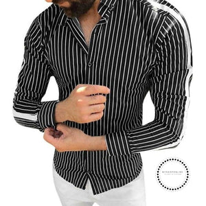 Shirt Of Men Fashion Stripe Button Roll Collar Long Sleeve Shirts Mens Clothing Hawaiian For Black /