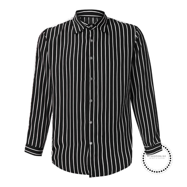 Shirt Of Men Fashion Stripe Button Roll Collar Long Sleeve Shirts Mens Clothing Hawaiian For