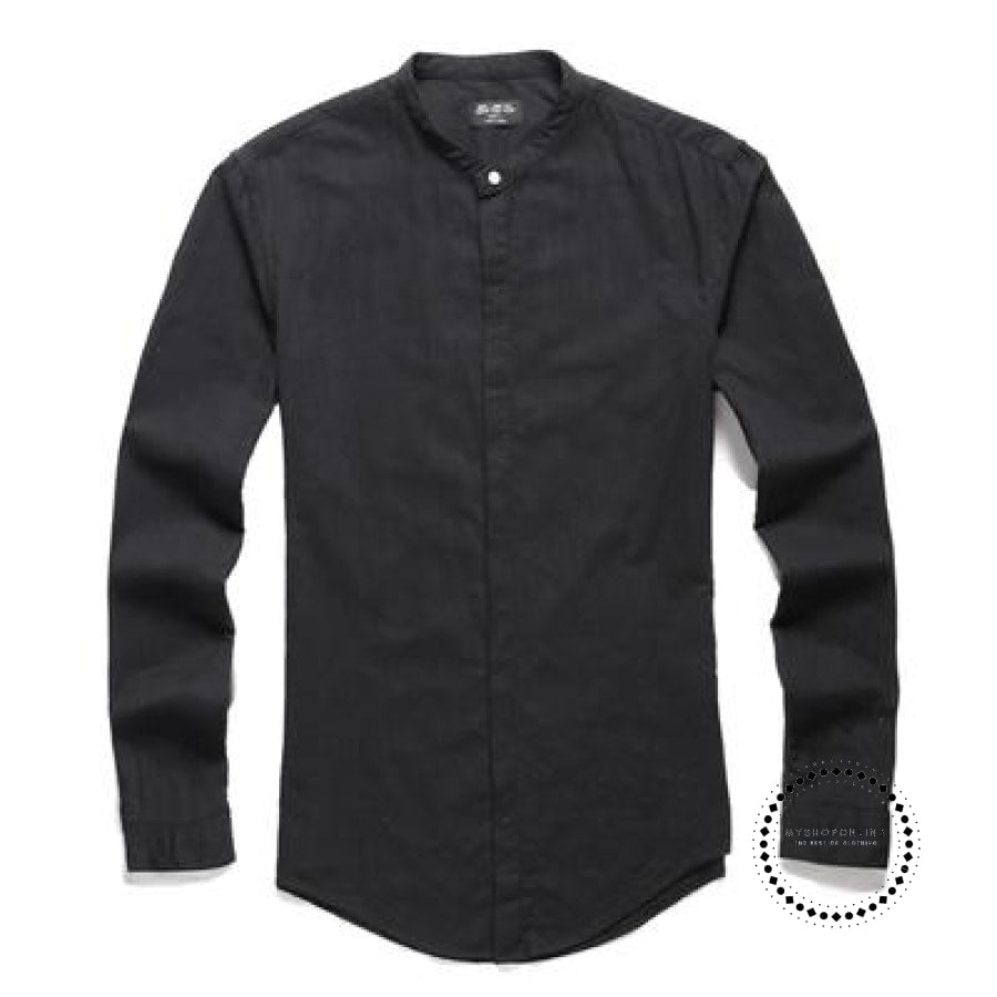 Shirts Men Cotton Linen Designer Brand Slim Fit Man Long Sleeve White Clothes Summer Black / S