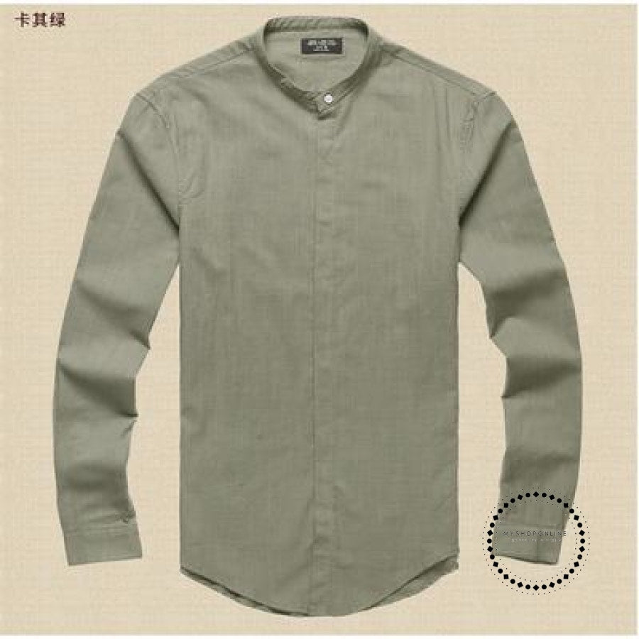 Shirts Men Cotton Linen Designer Brand Slim Fit Man Long Sleeve White Clothes Summer Khaki Green / S