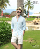 Shirts Men Cotton Linen Designer Brand Slim Fit Man Long Sleeve White Clothes Summer