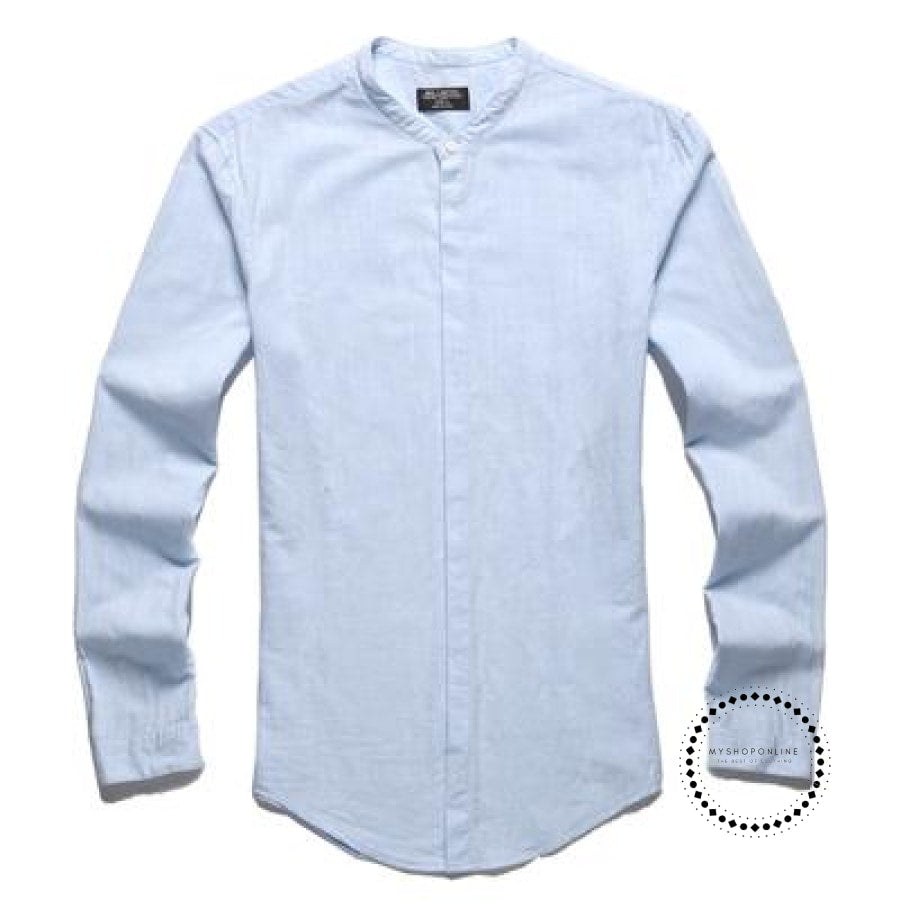Shirts Men Cotton Linen Designer Brand Slim Fit Man Long Sleeve White Clothes Summer Pink Blue / S