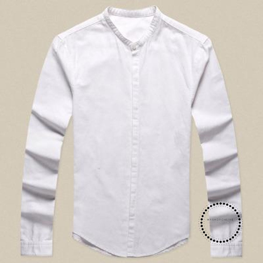 Shirts Men Cotton Linen Designer Brand Slim Fit Man Long Sleeve White Clothes Summer White / S
