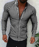 Shirts New Brand Fashion Men Luxury Stylish Striped Button Casual Dress Long Sleeve Slim Fit Black /