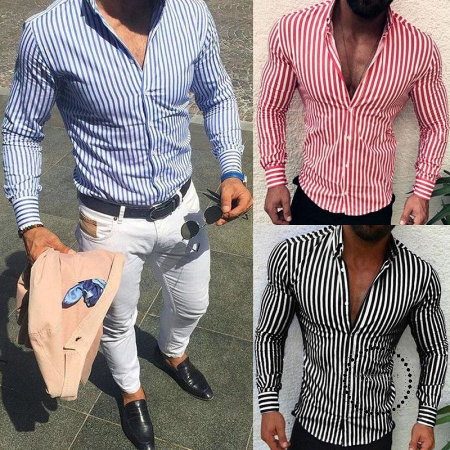 Shirts New Brand Fashion Men Luxury Stylish Striped Button Casual Dress Long Sleeve Slim Fit