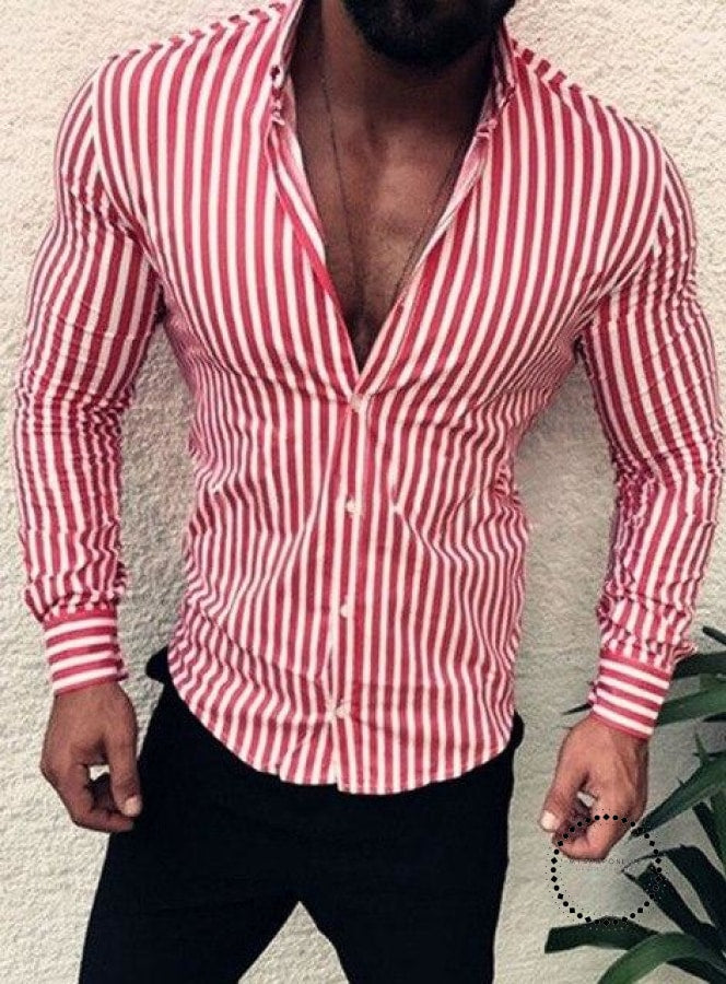 Shirts New Brand Fashion Men Luxury Stylish Striped Button Casual Dress Long Sleeve Slim Fit Red / M