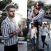 Shirts New Brand Men Summer Cotton Linen Striped Button Tops Casual Loose V Neck Long Sleeve