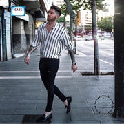 Shirts New Brand Men Summer Cotton Linen Striped Button Tops Casual Loose V Neck Long Sleeve White /