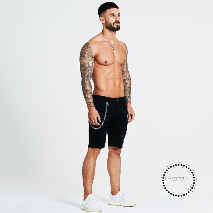 Short Jeans Slim Fit Shorts For Men Summer Skinny Black Ripped Stretch With Chain