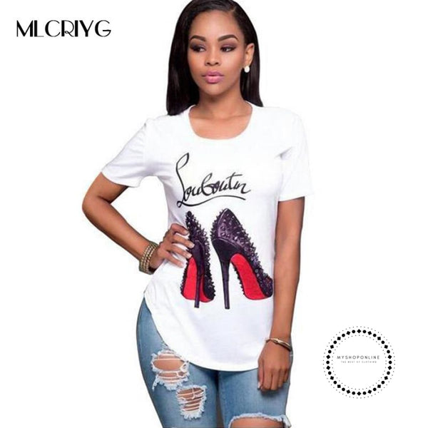 Short Sleeved Tshirt Women Tops White Letter Print Shirts Casual Sleeve Tee