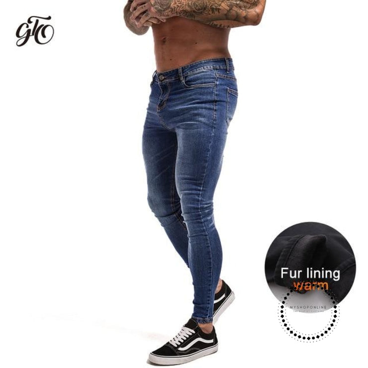 Skinny Jeans For Men Black Streetwear Hip Hop Stretch Hombre Slim Fit Fashion Biker Ankle Tight Blue