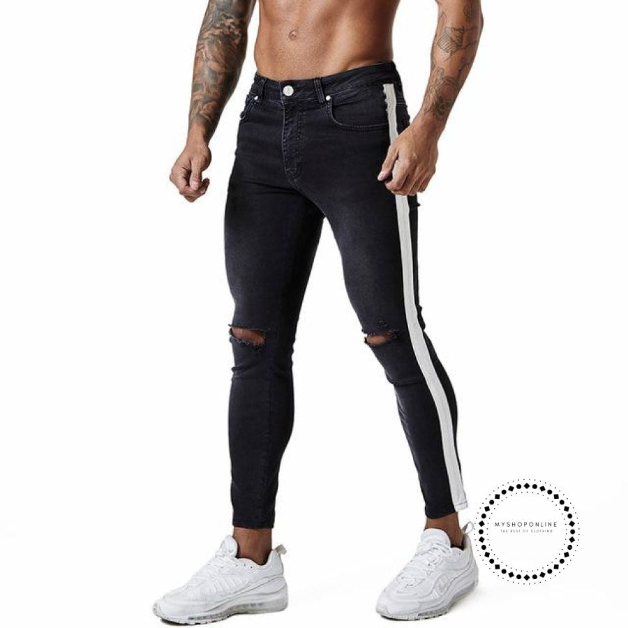 Skinny Jeans For Men Tape Side Distressed Faded Black Big Size Faded Black Tape / 28