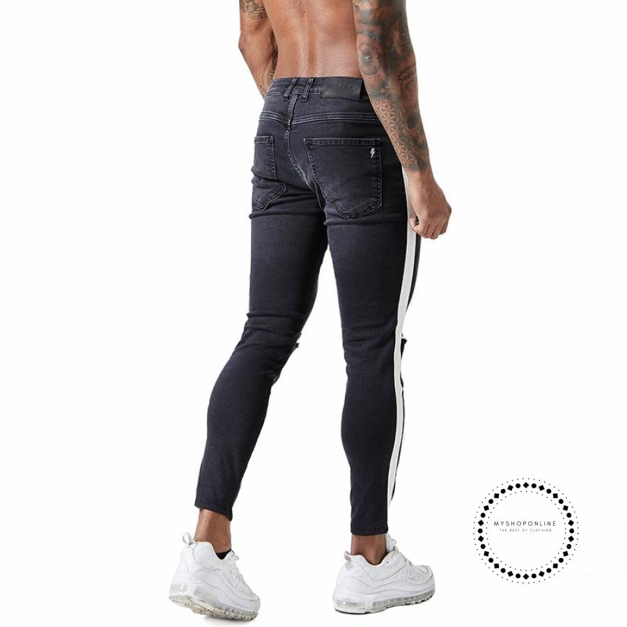 Skinny Jeans For Men Tape Side Distressed Faded Black Big Size
