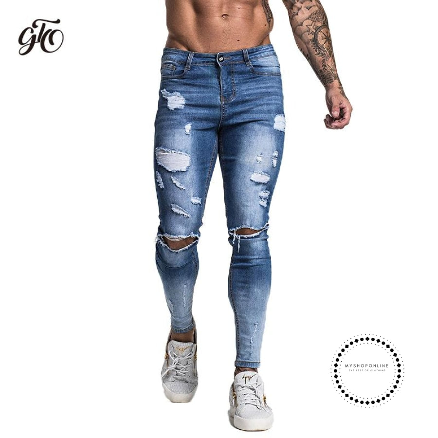 Skinny Jeans Men Slim Fit With Chain Elastic Waist Biker Hip Hop Streetwear Accesorios