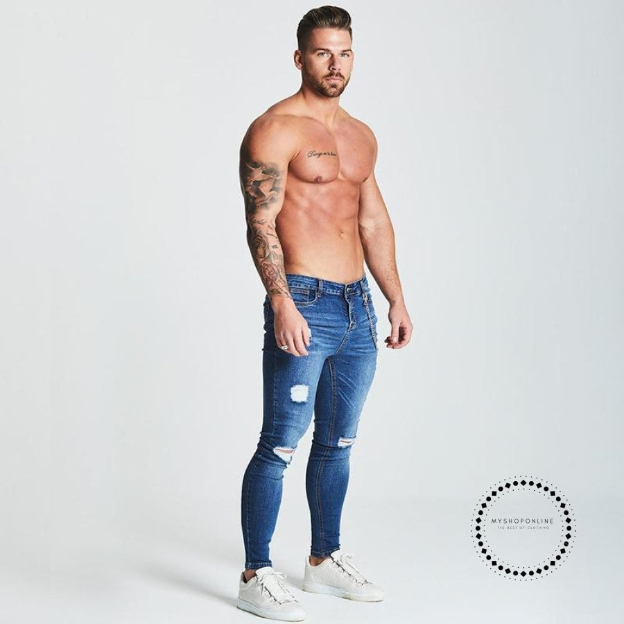 Skinny Jeans Men Slim Fit With Chain Elastic Waist Biker Hip Hop Streetwear Dark Blue With Chain /