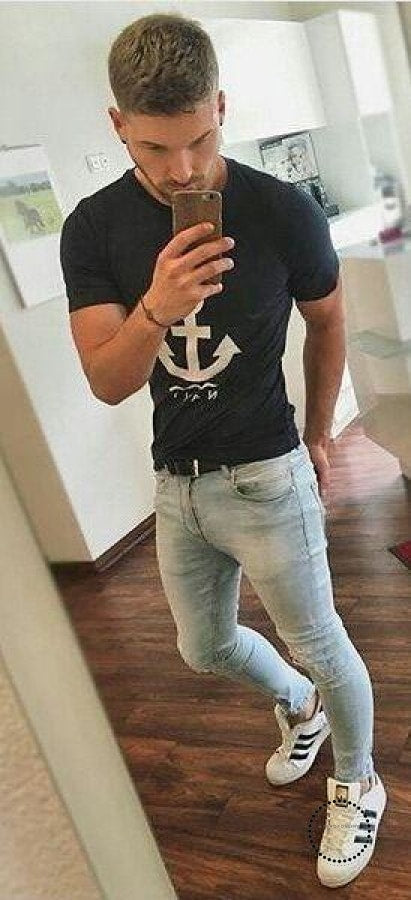 Skinny Jeans Men Slim Fit With Chain Elastic Waist Biker Hip Hop Streetwear Light Blue / Xl