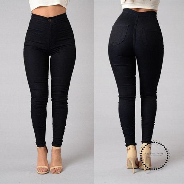 Skinny Jeans Woman High Waist Vintage Black / L Accesorios