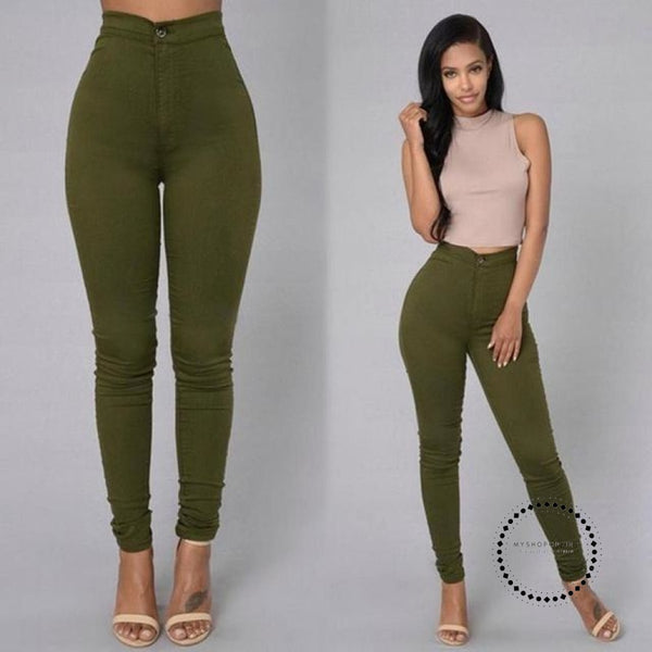 Skinny Jeans Woman High Waist Vintage Green / L Accesorios