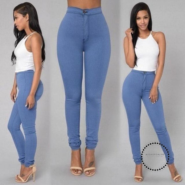 Skinny Jeans Woman High Waist Vintage Light Blue / L Accesorios