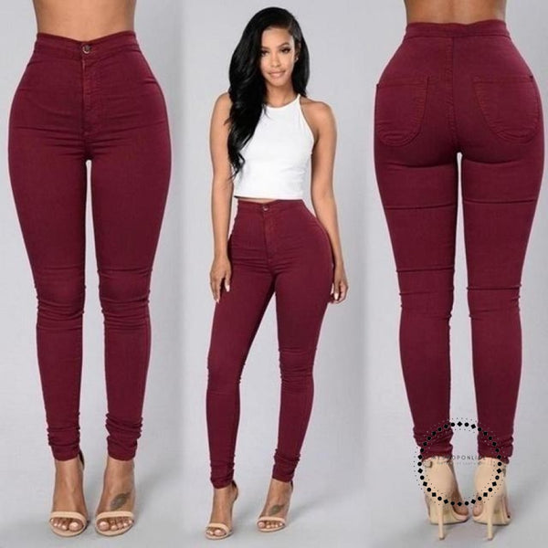 Skinny Jeans Woman High Waist Vintage Red Wine / L Accesorios
