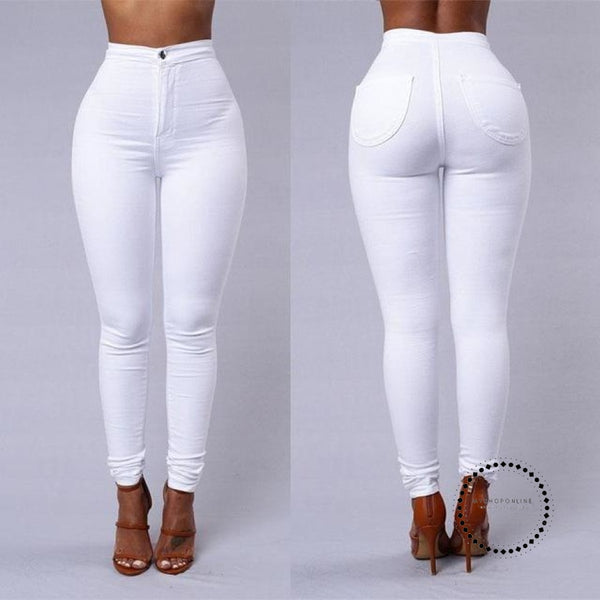 Skinny Jeans Woman High Waist Vintage White / L Accesorios