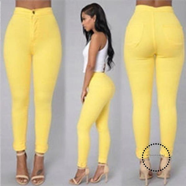 Skinny Jeans Woman High Waist Vintage Yellow / L Accesorios