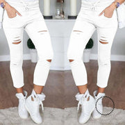 Skinny Jeans Women Denim Pants Holes Destroyed Knee Pencil Accesorios