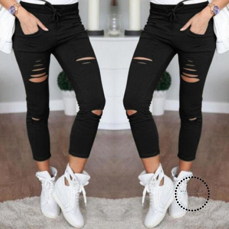 Skinny Jeans Women Denim Pants Holes Destroyed Knee Pencil Black / 4Xl Accesorios