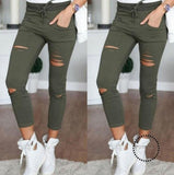 Skinny Jeans Women Denim Pants Holes Destroyed Knee Pencil Green / 4Xl Accesorios