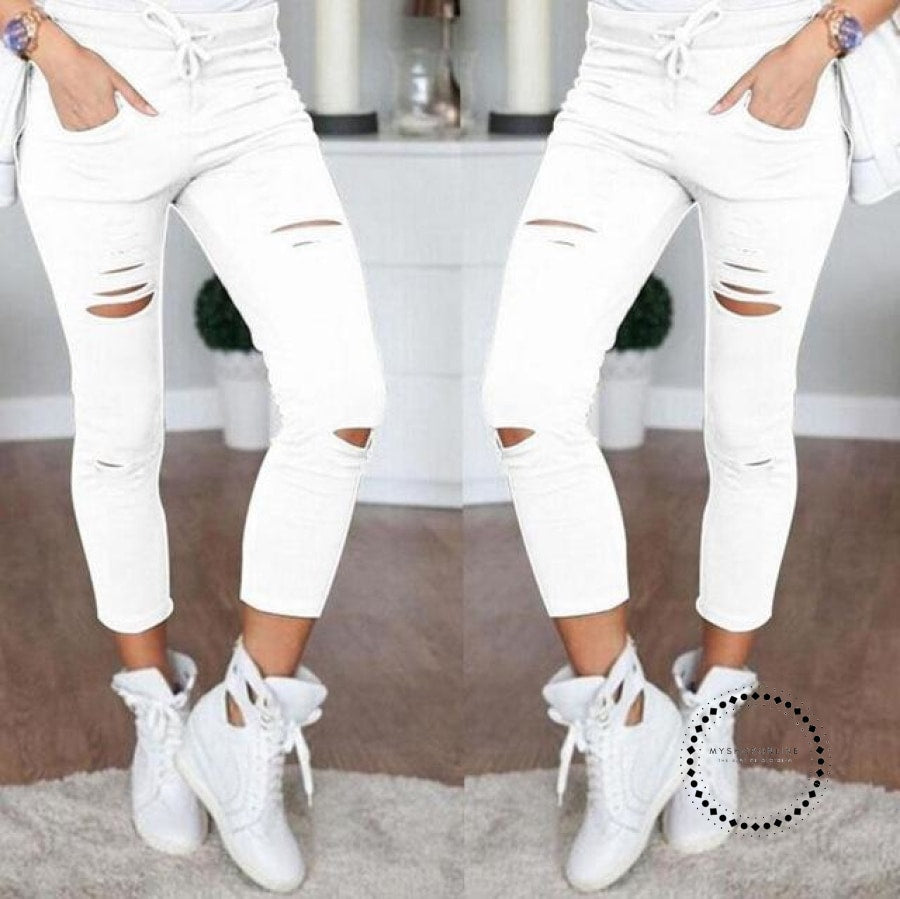Skinny Jeans Women Denim Pants Holes Destroyed Knee Pencil White / 4Xl Accesorios