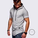 Sleeve Hooded T Shirt Men Longline Shirts Slim T-Shirt Hip Hop Tshirt Streetwear Funny Summer Top