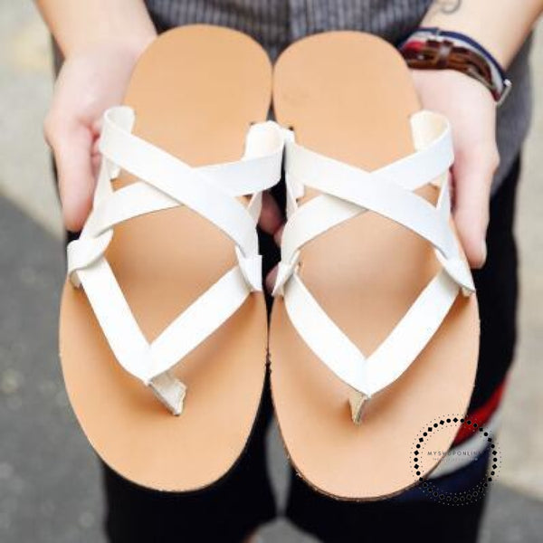 Slippers Men Summer Mens Flip Flops Fashion Casual Beach Shoes White / 6