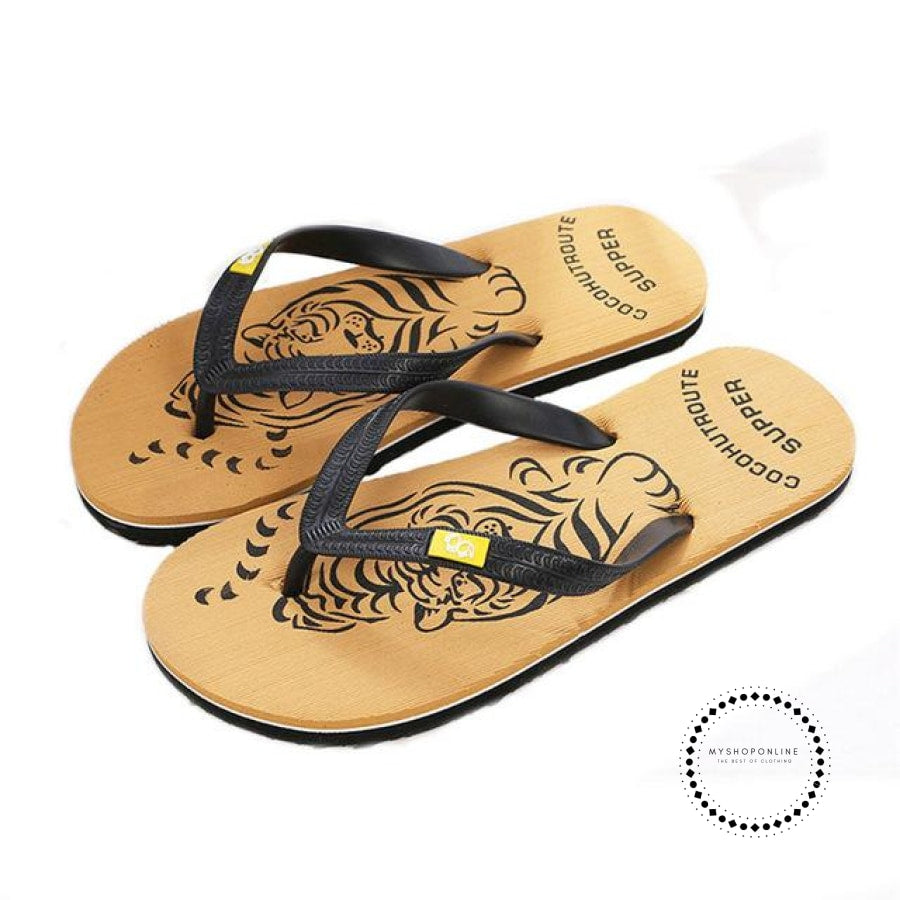 Slippers Men Summer Shoes Flip Flops Beach Yellow / 7 Accesorios