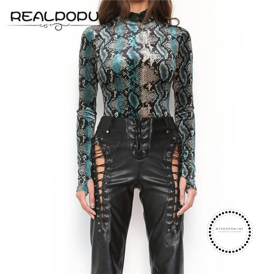 Snake Skin Turtleneck Long Sleeve Bodysuit As Picture 1 / L Accesorios