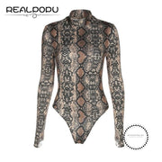 Snake Skin Turtleneck Long Sleeve Bodysuit As Picture 2 / L Accesorios
