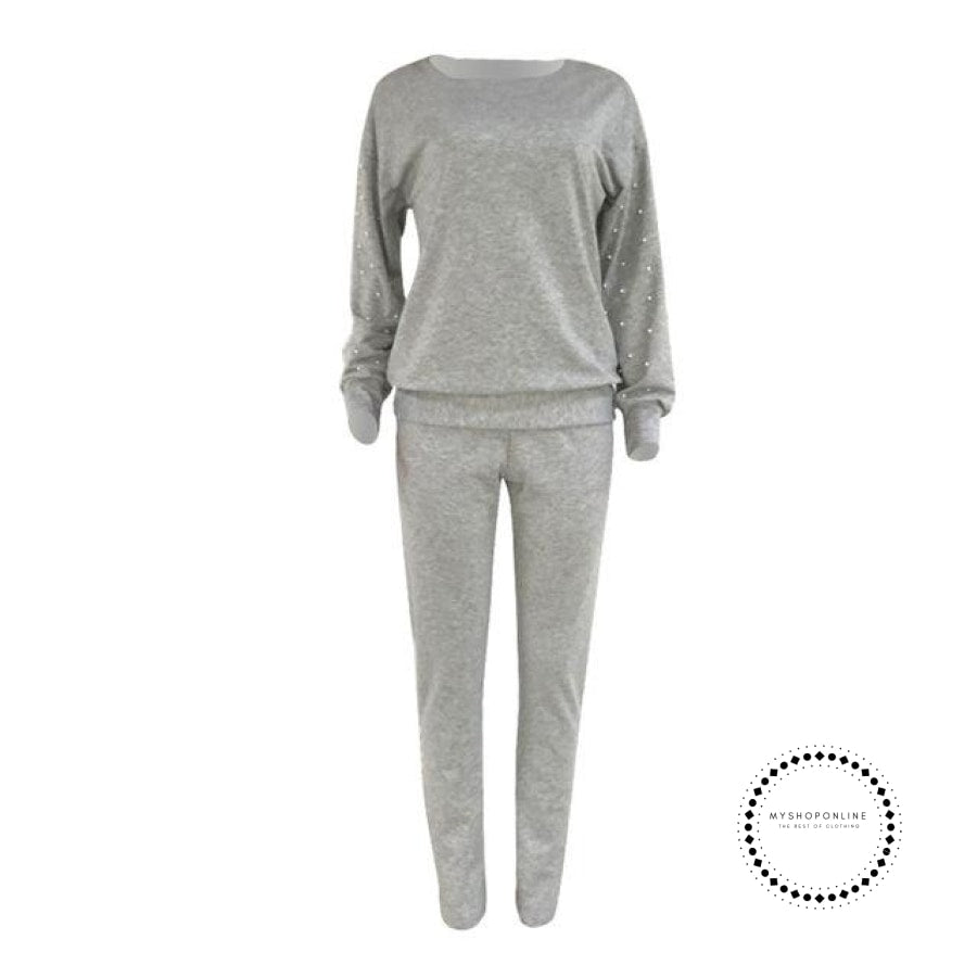 Spring Autumn Winter Beads Decorate Women Tracksuit Solid O Neck Long Sleeve Tops Pants Suit 2Pcs