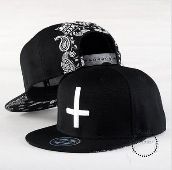 Street Dance Cool Hip Hop Caps Embroidery Cross Snapback Snap Back Baseball Hats Bone Hat Black